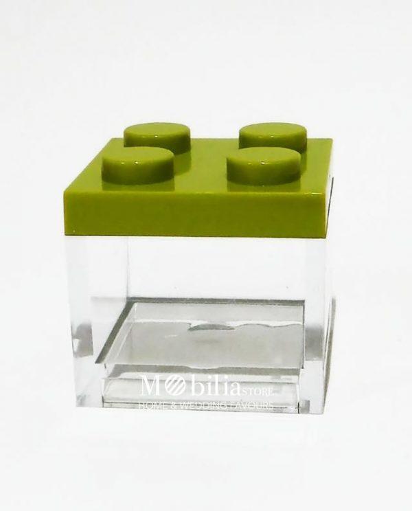 scatola lego verde confezionata bomboniera