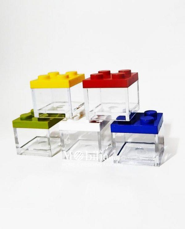 Box lego scatolina portaconfetti vari colori