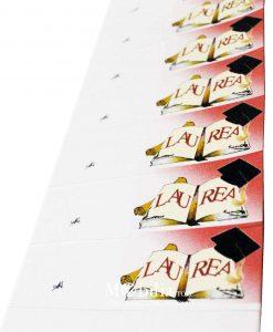 bigliettini fustellati con tocco e pergamena e scritta laurea su libro
