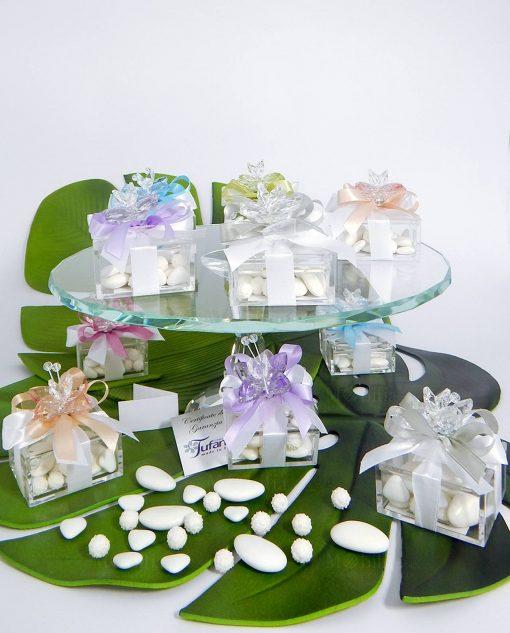 bomboniera farfalla in swarovski su scatolina in plexiglass