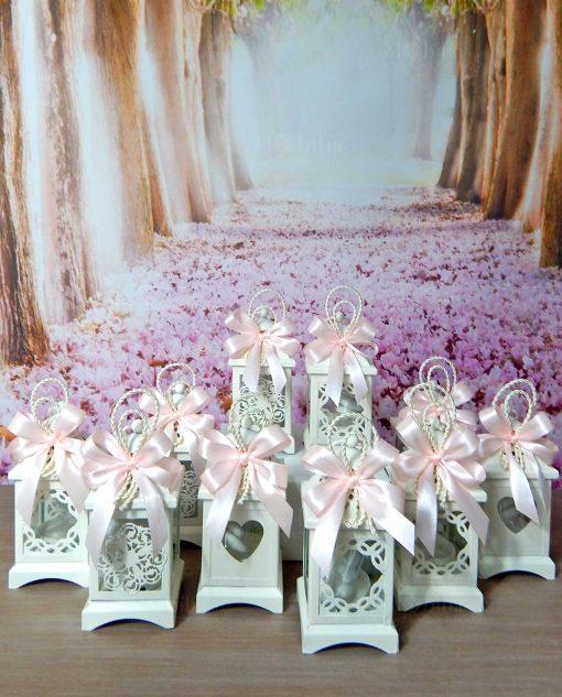 bomboniera lanterna in metallo assortita con natro rosa