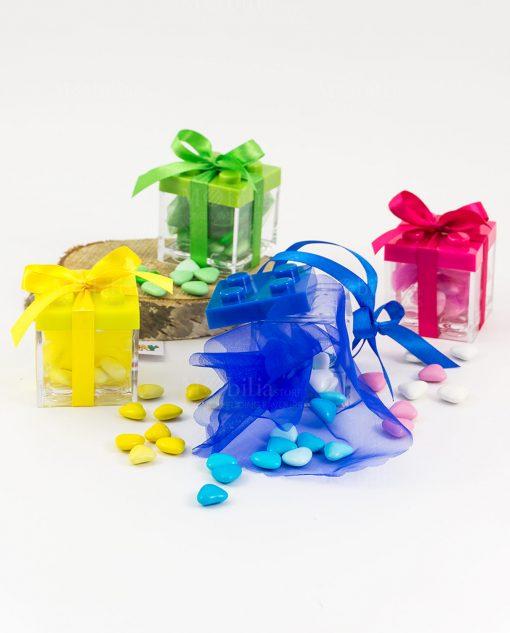 bomboniera scatolina lego portaconfetti fiocco raso e veli con confetti