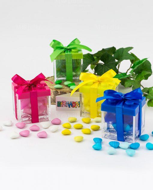 bomboniera scatolina portaconfetti lego colori assortiti con fiocco raso
