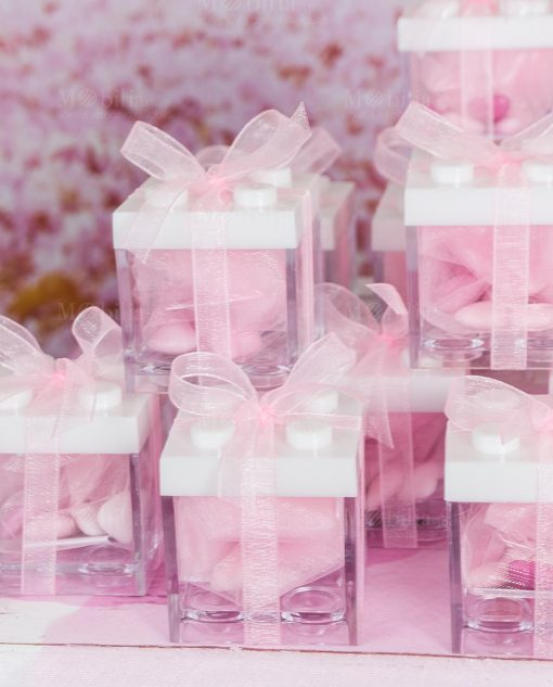 bomboniera scatolina portaconfetti lego con tappo bianco e ffiocco roganza rosa
