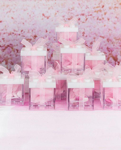 bomboniera scatolina portaconfetti lego con tappo bianco fiocco roganza rosa