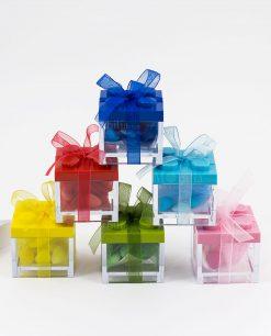 bomboniera scatolina portaconfetti trasparente con tappo lego colorato