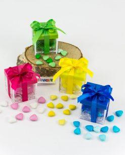 bomboniera scatoline portaconfetti lego con tappo colorato e fiocco raso abbinato