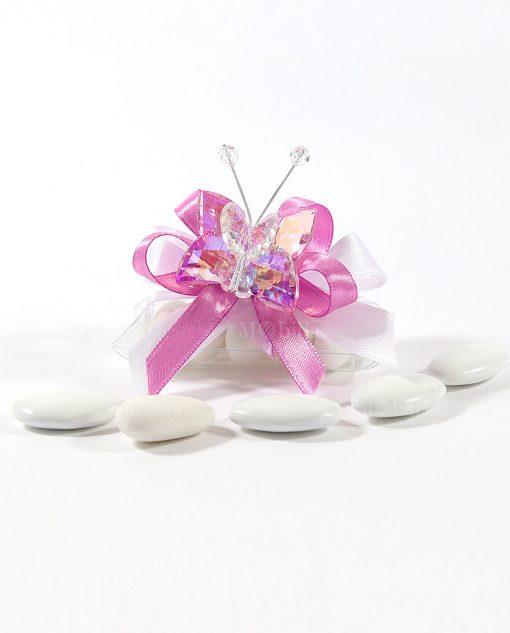 bomboniere farfalla in cristallo swarovski rosa tufano