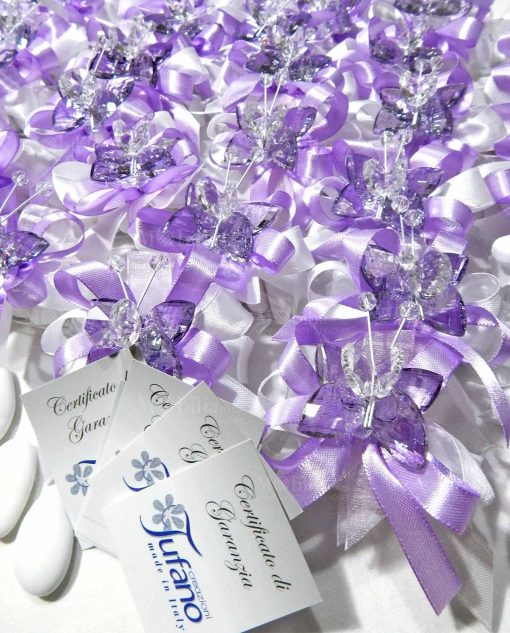 bomboniere farfalle swaroski su tubicino