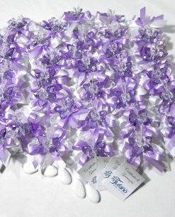 bomboniere farfalle swarovski tufano con nastri viola