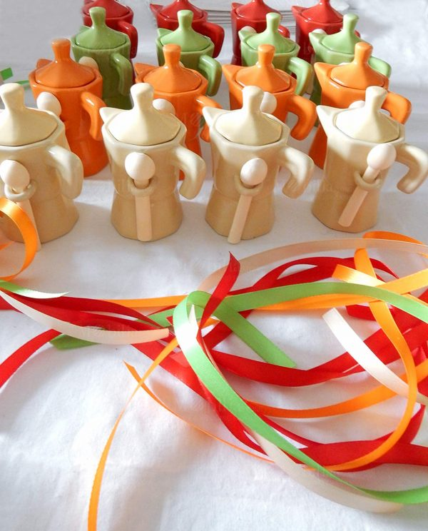 moka zuccheriera porcellana colorata con cucchiaino