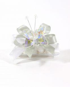 bomboniere tubicino con farfalla cristallo bianco tufano