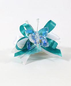 bomboniere tubicino con farfalla cristallo blu tufano