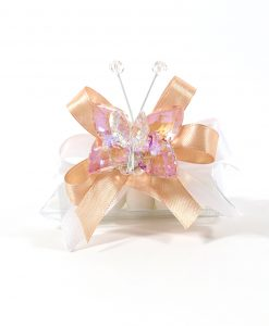 bomboniere tubicino con farfalla cristallo pesca tufano