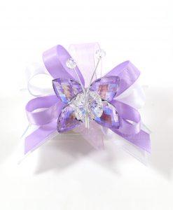 bomboniere tubicino con farfalla cristallo viola tufano
