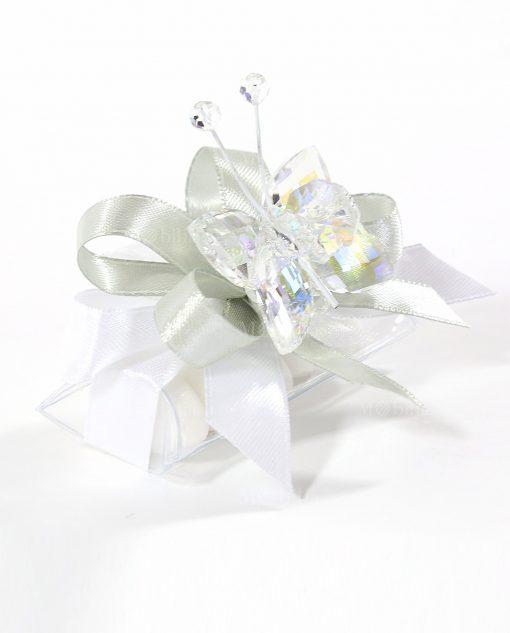 bomboniere tucino con farfalla cristallo bianco tufano