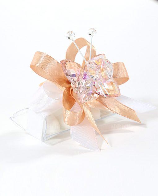 bomboniere tucino con farfalla cristallo pesca tufano