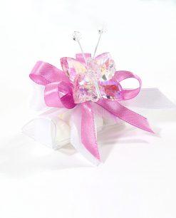bomboniere tucino con farfalla cristallo rosa tufano