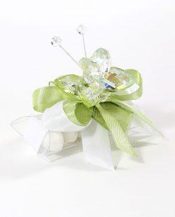bomboniere tucino con farfalla cristallo verde tufano