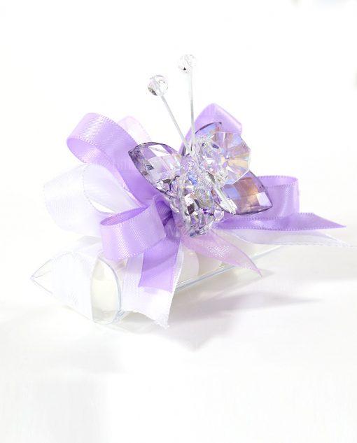 bomboniere tucino con farfalla cristallo viola tufano
