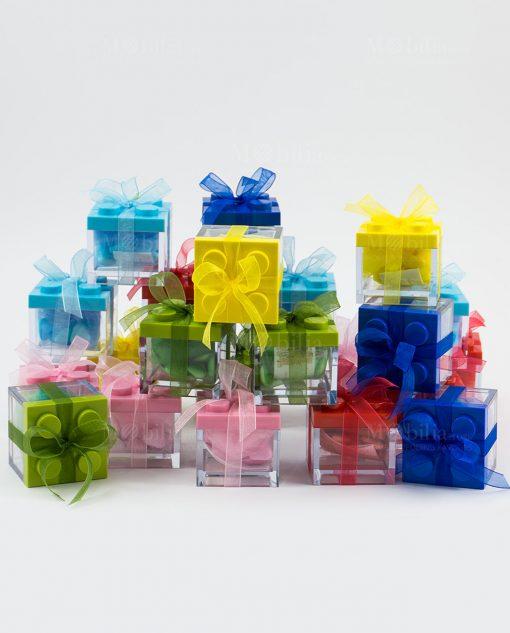 scatolina portaconfetti lego colori assortiti