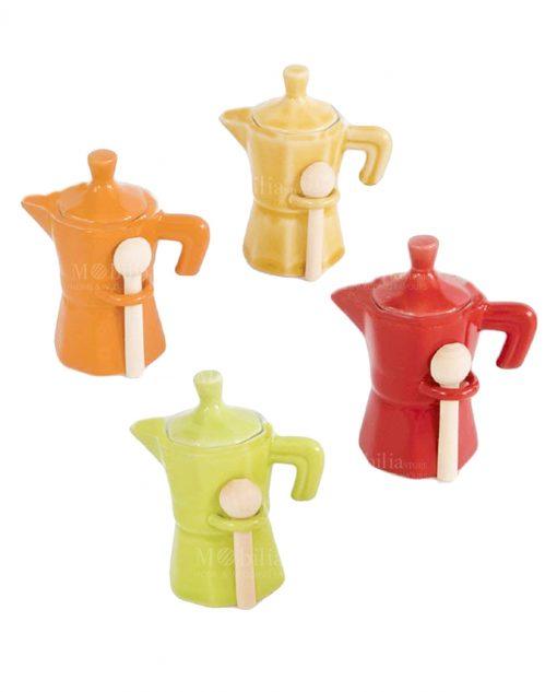 set quattro pezzi moka colorata con cucchino