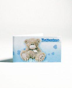 bigliettino con orsetto e cuori scritta battesimo azzurra