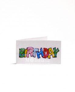 Bigliettini con scritta Multicolor birthday