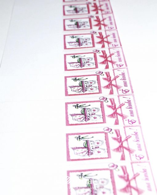 bigliettino nascita femminile carrozzina dettaglio