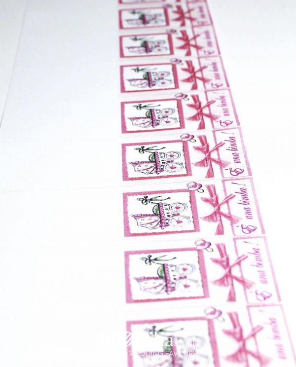 bigliettini rosa con carrozzina e fiocco