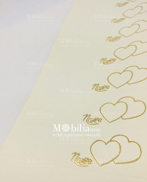 Bigliettini bomboniere Matrimonio Cuori Stilizzati Oro