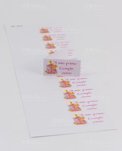 bigliettino primo compleanno bimba con numero 1 e candelina