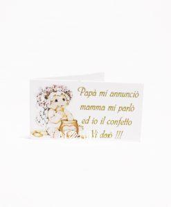 bigliettino bimba con fiori e miele scritta nascita