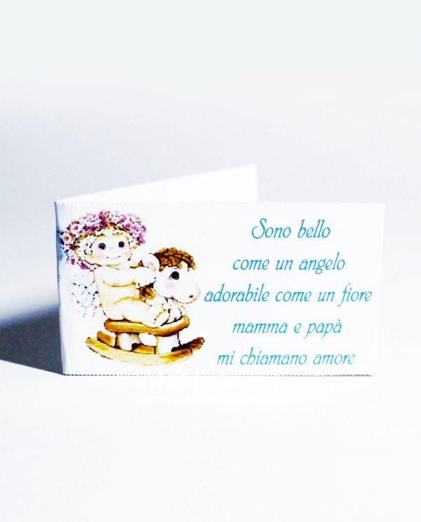 Bigliettini bomboniere Nascita Bimbo Cavallo Dondolo con dolce dedica