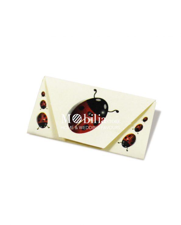 Bigliettini bomboniere Busta con Coccinelle