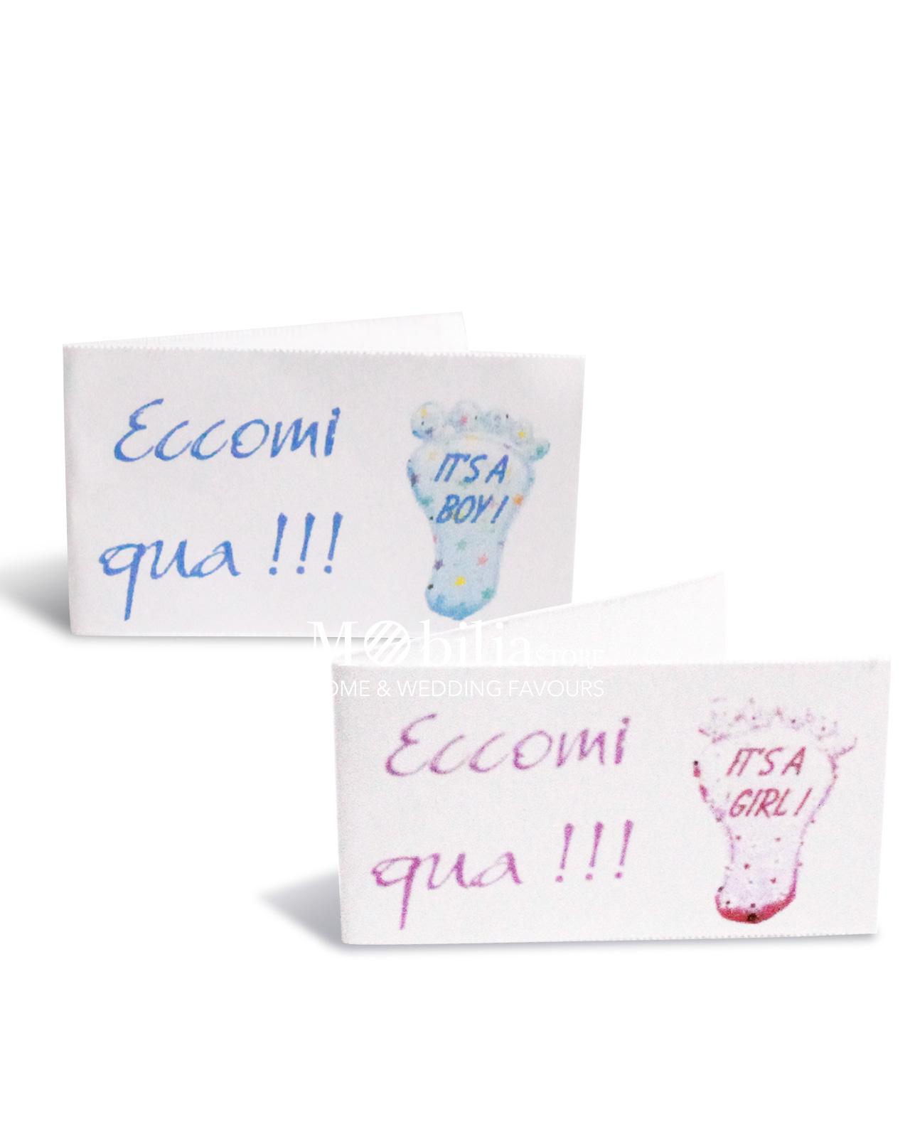 Bigliettini bomboniere nascita bimbo con impronta set 10 for Mobilia frasi