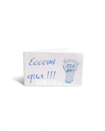 Bigliettini bomboniere Nascita Bimbo con Impronta