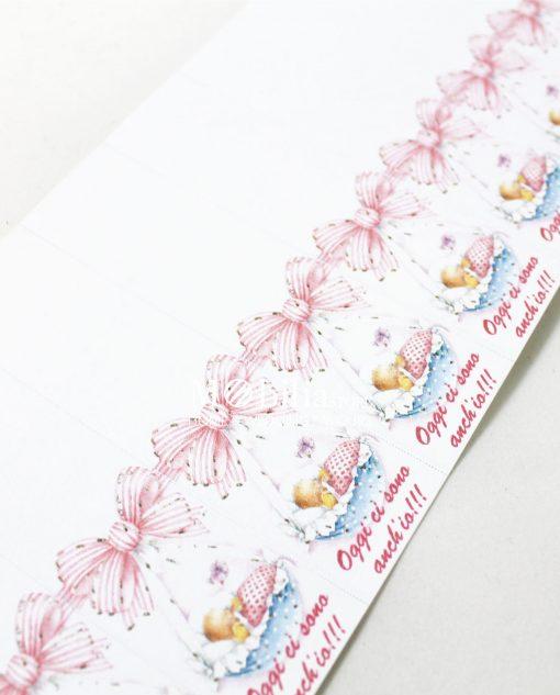 Bigliettini bimba con Culla scritta rosa
