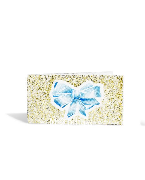 bigliettini con fiocco azzurro e glitter oro da stampare o stampati