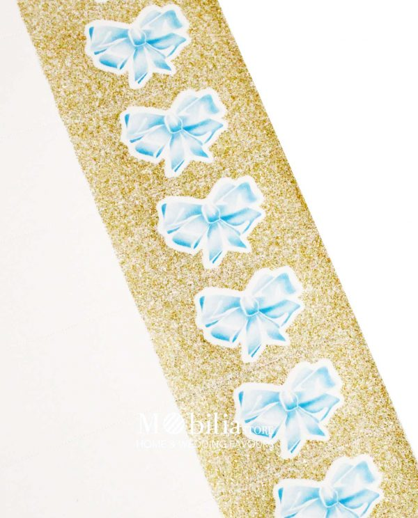 Bigliettini Fiocco Azzurro con Glitter