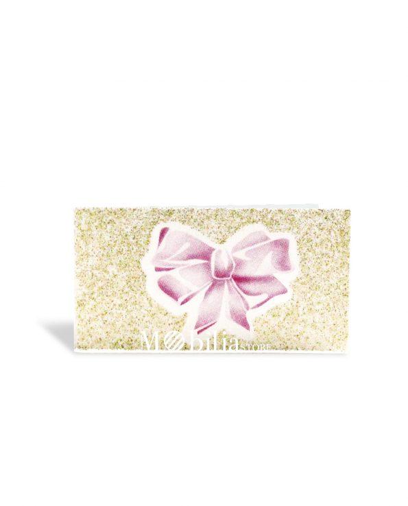 Bigliettini bomboniere Nascita Fiocco Rosa con Glitter
