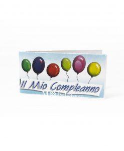 Bigliettini palloncini multicolor scritta il mio compleanno