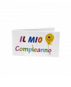 Bigliettini con Palloncino e scritta Multicolor il mio compleanno
