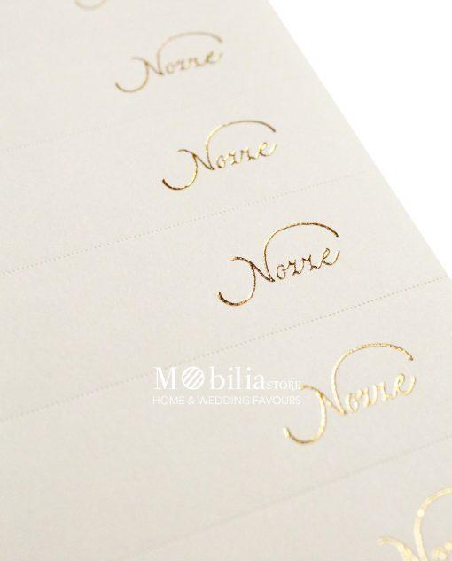 nozze scritta oro su carta avorio dettaglio