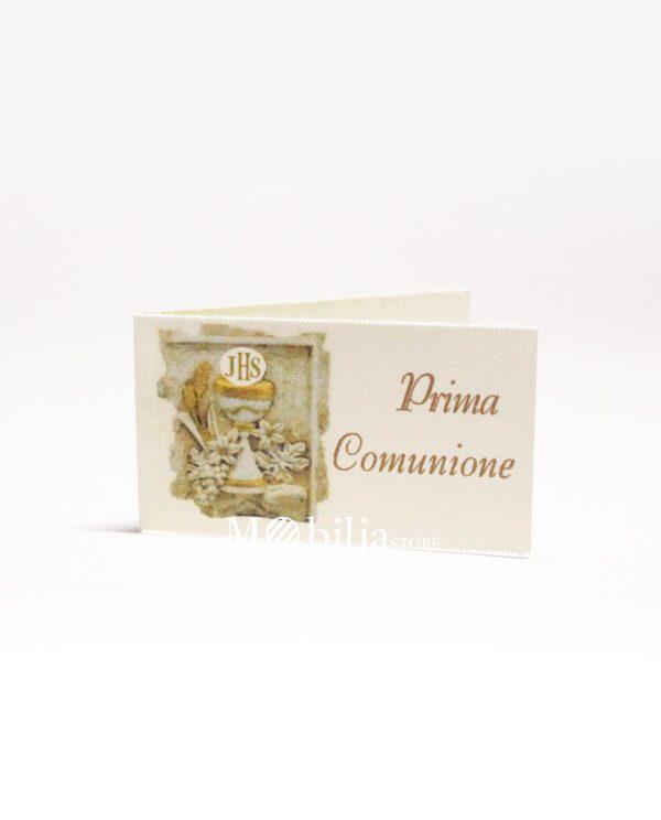 Bigliettini scultura calice eucaristico con scritta prima comunione