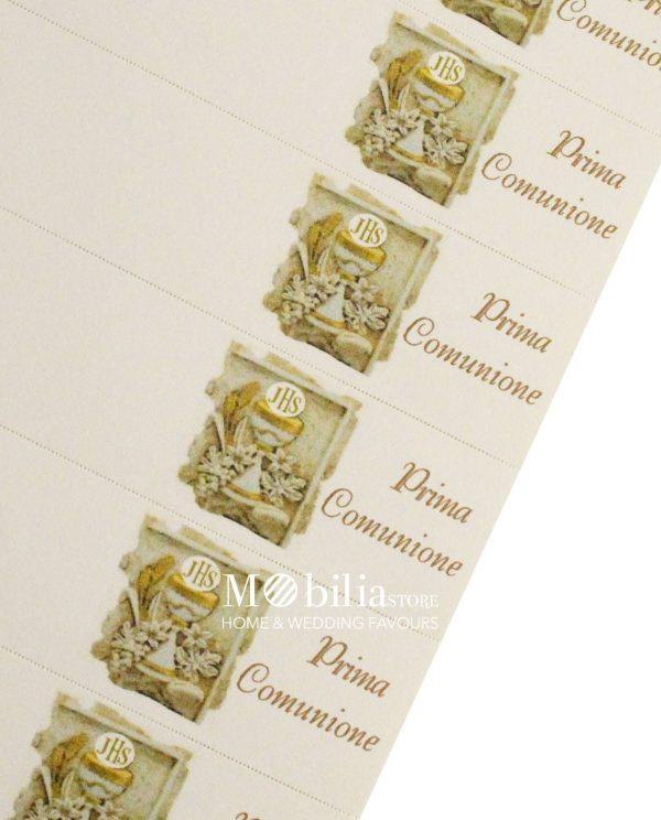 bigliettini calice con fiori e scritta prima comunione