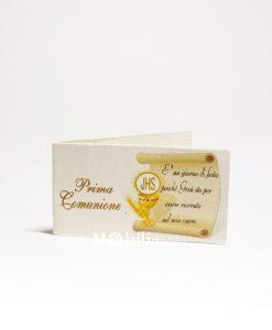 bigliettini con calice eucaristico dedica e scritta prima comunione