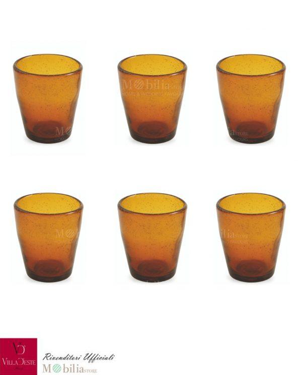 Set 6 Bicchieri Acqua Vetro Arancio Ambra Cancun Villa d'Este