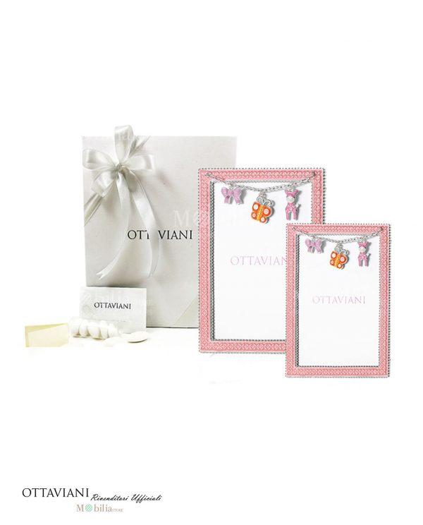 bomboniera cornice rosa con charms farfalla giraffa e fiocchetto ottaviani