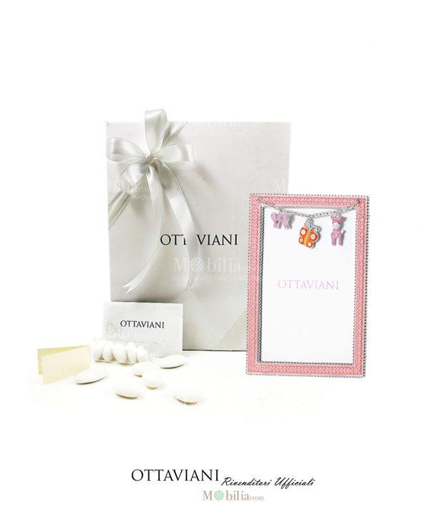 bomboniera portafoto medio rosa con charms ottaviani